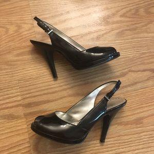 BCBG slingback peep toe heels